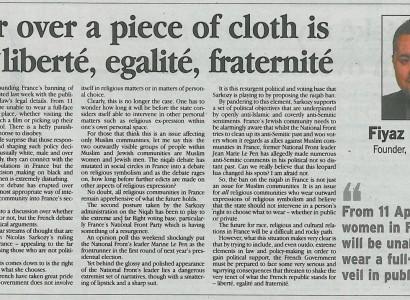 Fear over a piece of cloth is not liberté, egalité, fraternité