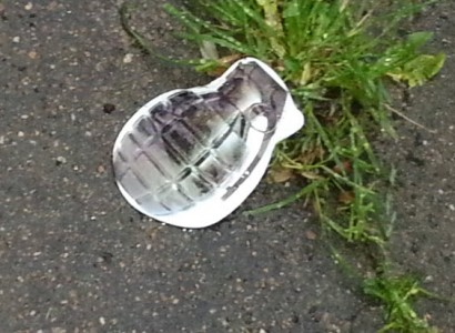 Cut out Picture of a Grenade Placed in the Driveway of Muslim Family