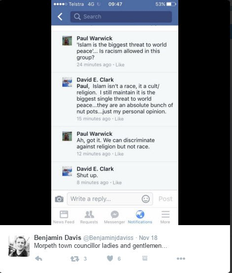 Morpeth Town Councillor David Clarke Refuses to Resign After Anti-Islam Comments